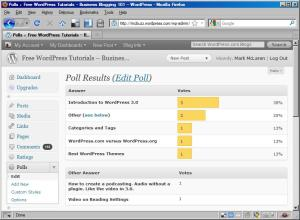 Dashboard view of WordPress PollDaddy Poll on McBuzz.WordPress.com
